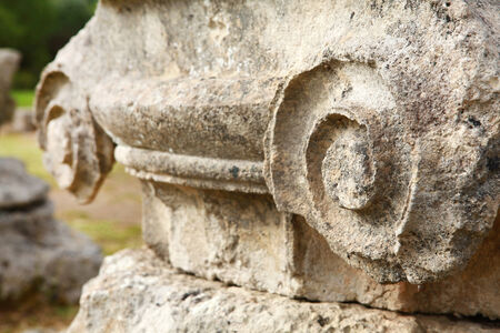 closeup of ancient column in archeological museum in Olympia. Greece. focus on detail of column