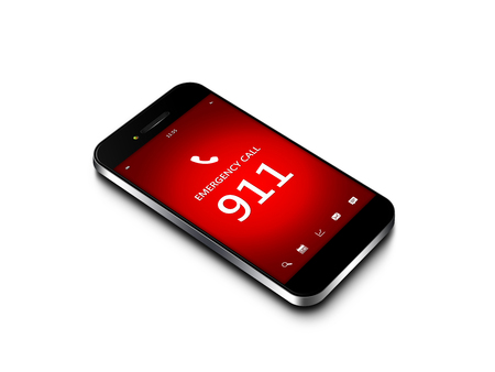 mobile phone with emergency number 911 isolated over white background photo