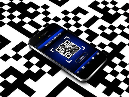 mobile phone with qr code screen  photo
