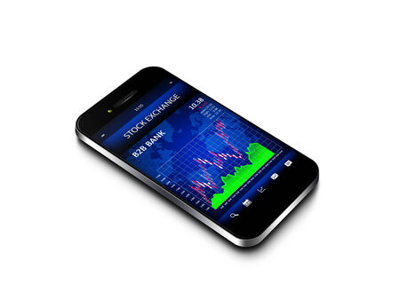 mobile phone with stock market chart isolated over white background photo