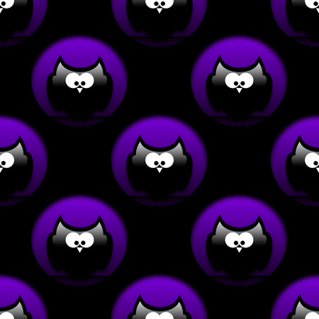 hollows: seamless halloween pattern with owls in hollows over black Stock Photo