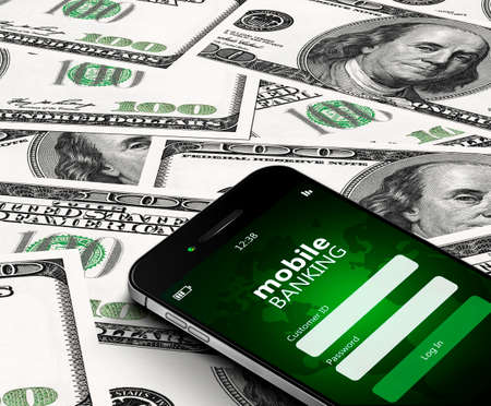 mobile phone with mobile banking screen over dollars background photo