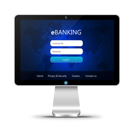 web banking: monitor with ebanking login page  isolated over white background