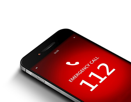 mobile phone with emergency number 112 over white background