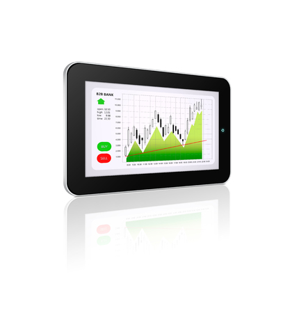 stockbroker: tablet with stock market chart isolated over white background