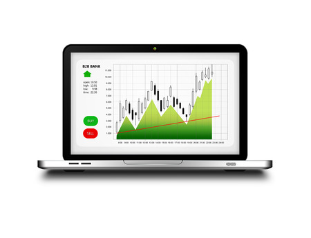stockbroker: laptop with stock market chart isolated over white background