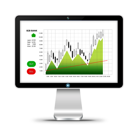 stockbroker: computer with stock market chart isolated over white background