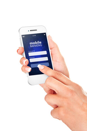 internet banking: mobile phone with mobile banking log in page holded by hand isolated over white background Stock Photo