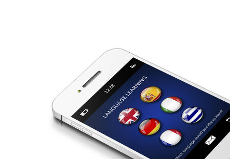 linguistics: mobile phone with language learning application over white background Stock Photo