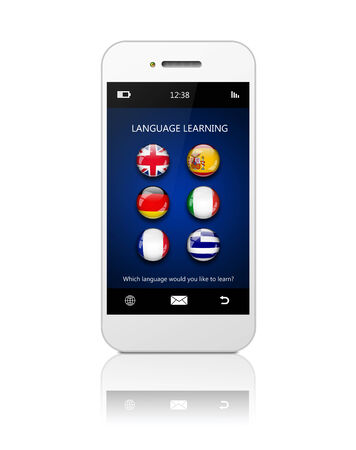 lingua: mobile phone with language learning application over white background Stock Photo
