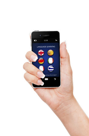 lingua: hand, holding mobile phone with language learning application over white background