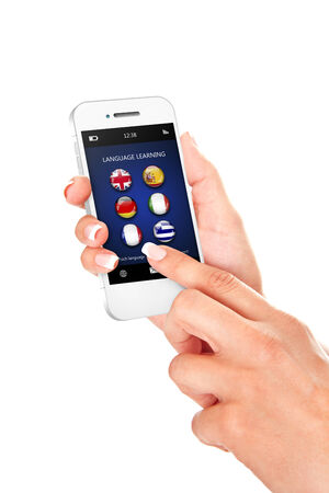 hand holding mobile phone with language learning application over white background photo