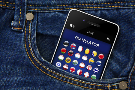 lingua: mobile phone with language translator application in jeans trousers pocket