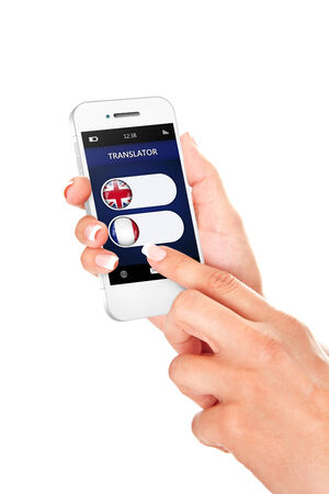 lingua: hands holding mobile phone with language translator application over white background