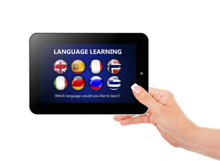 lingua: hand holding tablet with language learning page over white background