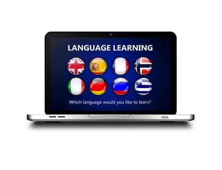 lingua: laptop with language learning page over white background Stock Photo