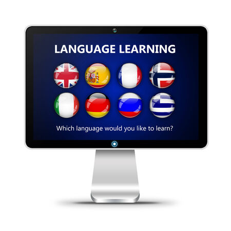 lingua: computer screen with language learning page isolated over white background Stock Photo