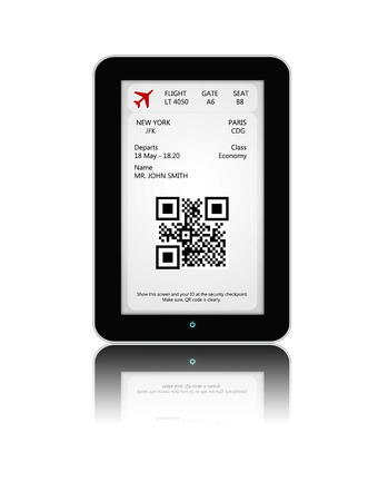 白い背景に分離されたモバイル搭乗券を搭載したタブレットします。