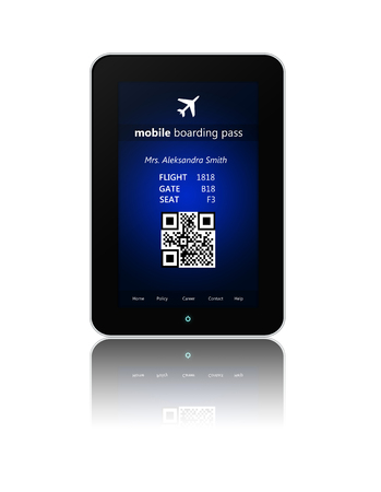 over white: tablet with mobile boarding pass isolated over white background