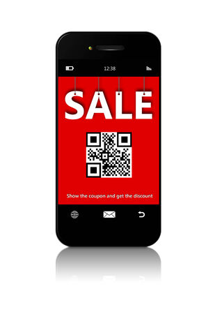 mobile phone with discount coupon isolated over white background photo