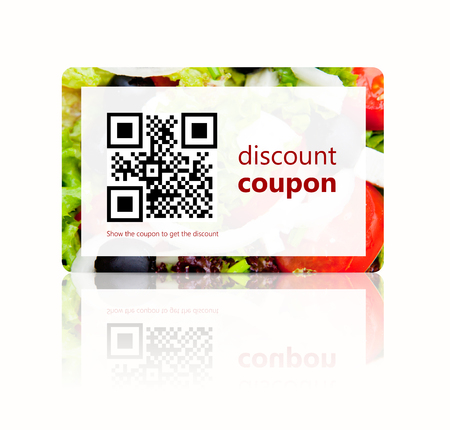 food discount coupon with qr code isolated over white  Reklamní fotografie