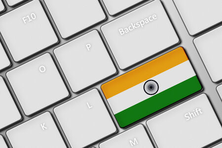 closeup of computer keyboard with indian flag button photo