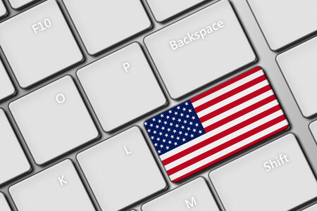 closeup of computer keyboard with United States of America flag button photo