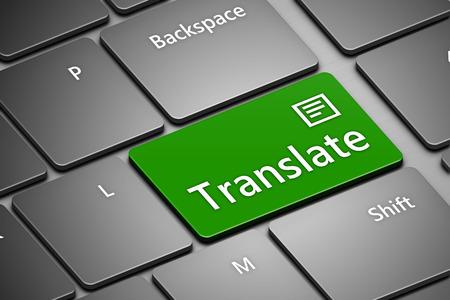 컴퓨터 키보드의 근접 촬영 버튼을 번역과 함께 스톡 콘텐츠