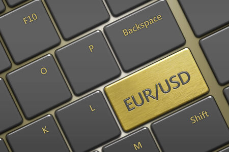 closeup of computer keyboard with currency pair:eurusd button photo