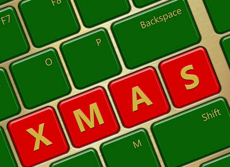 closeup of computer keyboard with xmas buttons photo