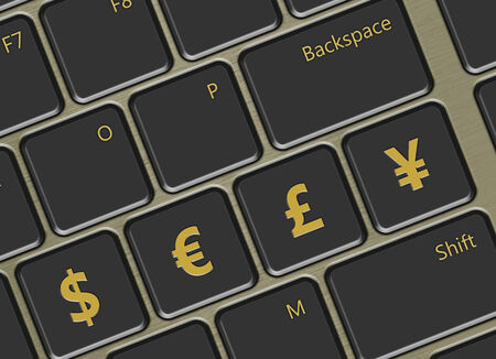 closeup of computer keyboard with main world currencies buttons photo