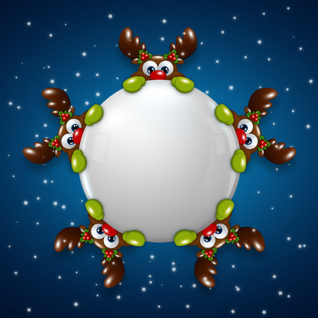 christmas cartoon reindeers holding snowball over blue background photo