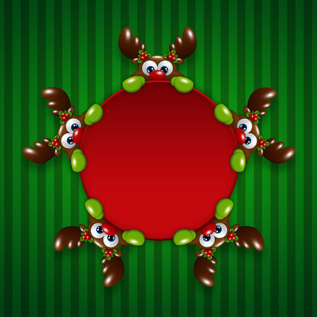 christmas cartoon reindeers holding red banner over green background Stock Photo