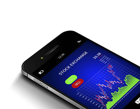 stockbroker: mobile phone with stock market chart isolated over white background Stock Photo
