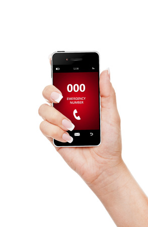 first australians: hand holding mobile phone emergency number 000 isolated over white background