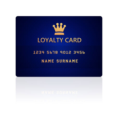 hand holding card: loyalty card isolated over white background