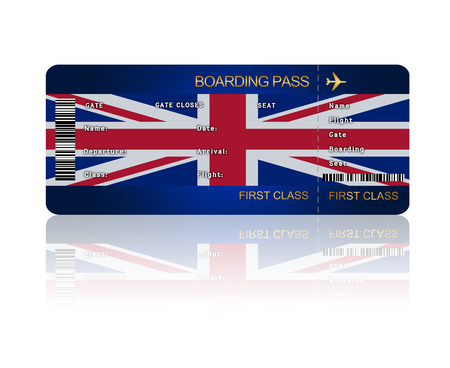jack plane: air ticket with Great Britain flag isolated over white background
