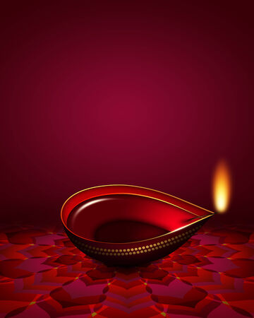 red oil lamp: diwali oil lamp over dark red background with place for text