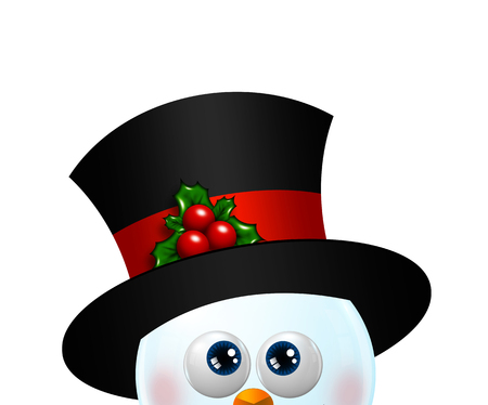 looking up: christmas snowman looking up isolated over white background
