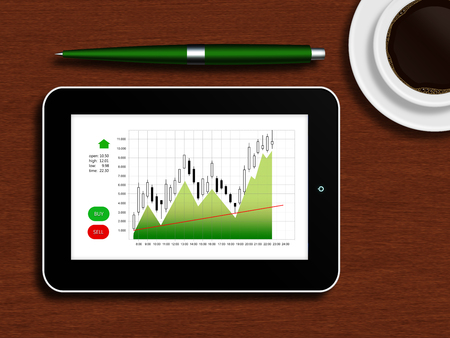tablet with the stock chart lying on a wooden table with a cup of coffee and pen photo