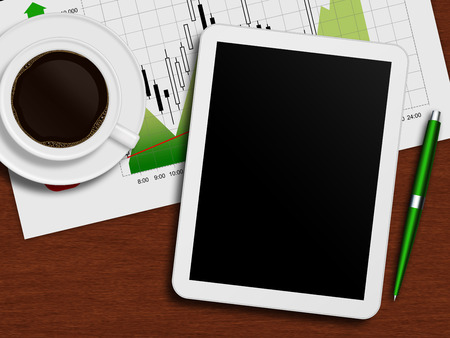 tablet with stock chart, cup of coffee and pen lying on wooden desk photo