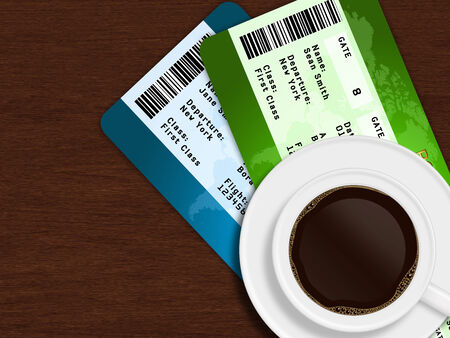 closeup of cup of coffee with airplane tickets lying on wooden table photo