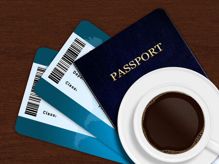 first form: closeup of cup of coffee with airplane tickets and passport lying on wooden table