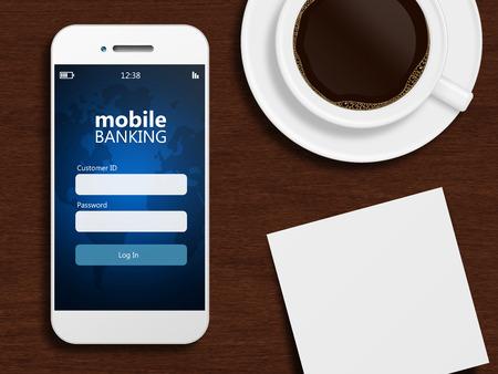 携帯電話でモバイルバン キング マグカップ コーヒーと空白のページ 写真素材
