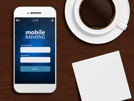 mobile phone screen: mobile phone with mobile banking page with mug of coffee and blank Stock Photo