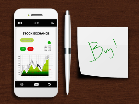 mobile phone with stock exchange screen, pen and buy note lying on wooden desk photo