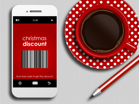 discount coupon: mobile phone with discount coupon, cup of coffee and pencil lying on white tablecloth