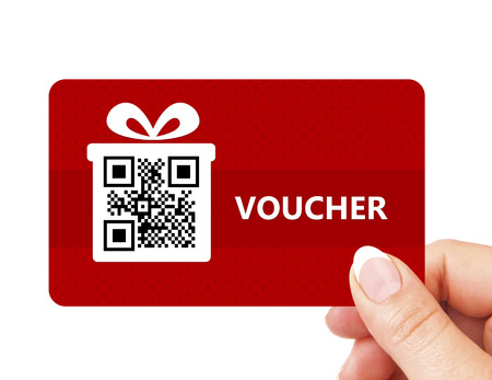 hand holding christmas voucher isolated over white background