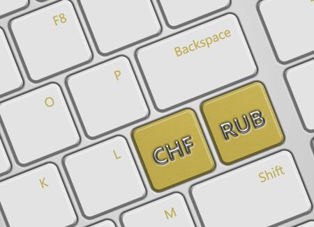 swiss franc: closeup of computer keyboard with swiss franc and russian ruble buttons Stock Photo