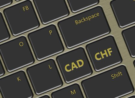 canadian dollar: closeup of computer keyboard with swiss franc and canadian dollar buttons